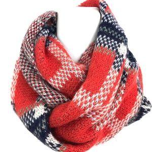 Madewell Wool knit Plaid Circle scarf infinity